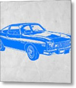 Blue Muscle Car Metal Print by Naxart Studio