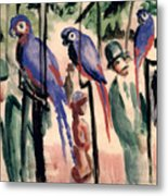 Blue Parrots Metal Print by August Macke