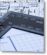 Blue Prints And Ruler Metal Print by Blink Images