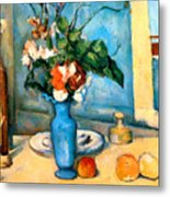 Blue Vase By Paul Cezanne Metal Print by Pg Reproductions