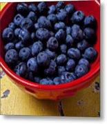 Blueberries In Red Bowl Metal Print by Garry Gay
