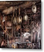 Boat - Block And Tackle Shop  Metal Print by Mike Savad