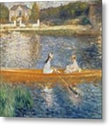 Boating On The Seine Metal Print by Pierre Auguste Renoir