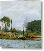 Boats At The Lock At Bougival Metal Print by Alfred Sisley