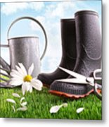 Boots With Watering Can And Daisy In Grass  Metal Print by Sandra Cunningham