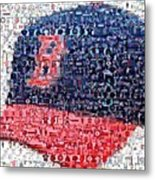 Boston Red Sox Cap Mosaic Metal Print by Paul Van Scott