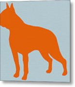 Boston Terrier Orange Metal Print by Naxart Studio