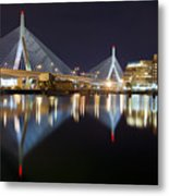 Boston Zakim Memorial Bridge Nightscape II Metal Print by Shane Psaltis