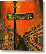 Bourbon Street Lamp Post Metal Print by Catherine Wilson