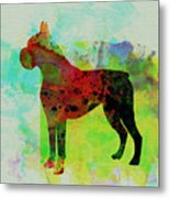 Boxer Watercolor Metal Print by Naxart Studio