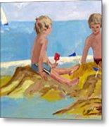Boys At The Beach Metal Print by Betty Pieper