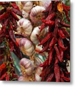 Braid Of Garlic Framed By Ristras Metal Print by Anne Keiser