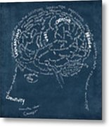 Brain Drawing On Chalkboard Metal Print by Setsiri Silapasuwanchai