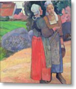 Breton Peasants Metal Print by Paul Gauguin