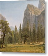Bridal Veil Falls Yosemite Valley California Metal Print by Albert Bierstadt