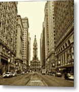 Broad Street Facing Philadelphia City Hall In Sepia Metal Print by Bill Cannon