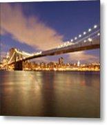 Brooklyn Bridge And Manhattan At Night Metal Print by J. Andruckow
