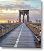 Brooklyn Bridge At Sunrise Metal Print by Anne Strickland Fine Art Photography