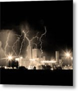 Budweiser Lightning Thunderstorm Moving Out Bw Sepia Crop Metal Print by James BO  Insogna