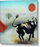 Bull With Sun Metal Print by Sally Appleby