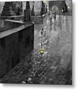 Bw Prague Charles Bridge 01 Metal Print by Yuriy  Shevchuk