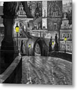 Bw Prague Charles Bridge 03 Metal Print by Yuriy  Shevchuk