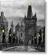 Bw Prague Charles Bridge 04 Metal Print by Yuriy  Shevchuk