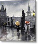 Bw Prague Charles Bridge 05 Metal Print by Yuriy  Shevchuk