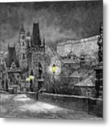 Bw Prague Charles Bridge 06 Metal Print by Yuriy  Shevchuk