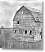Bw Rustic Barn Lightning Strike Fine Art Photo Metal Print by James BO  Insogna