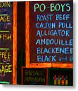 Cajun Menu Alligator Sausage Poboy - 20130119 Metal Print by Wingsdomain Art and Photography