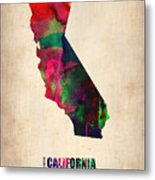 California Watercolor Map Metal Print by Naxart Studio