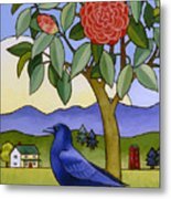Camellia And Crow Metal Print by Stacey Neumiller