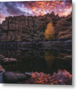 Candle Lit Lake Metal Print by Peter Coskun