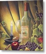 Candlelight Wine And Grapes Metal Print by Diana Miller