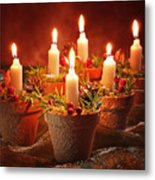 Candles In Terracotta Pots Metal Print by Amanda And Christopher Elwell