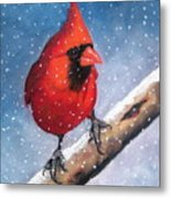 Cardinal In Winter Metal Print by Joyce Geleynse