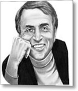 Carl Sagan Metal Print by Murphy Elliott