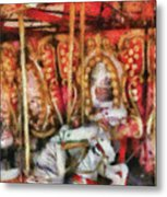 Carnival - The Carousel - Painted Metal Print by Mike Savad