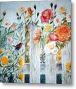 Carolina Wren And Roses Metal Print by Ben Kiger