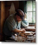 Carpenter - Carving The Figurehead  Metal Print by Mike Savad