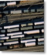 Carriages Of Freight Trains On A Commercial Railway Metal Print by Sami Sarkis