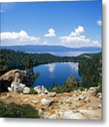 Cascade Lake And Lake Tahoe Metal Print by Troy Montemayor