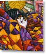 Cat In Quilts Metal Print by Carol Wilson