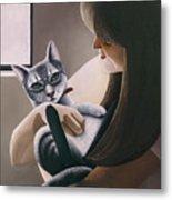 Cat Nestled Metal Print by Carol Wilson