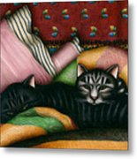 Cats With Pillow And Blanket Metal Print by Carol Wilson