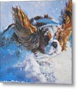 Cavalier King Charles Spaniel Blenheim In Snow Metal Print by Lee Ann Shepard