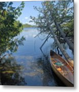 Cedar Strip Canoe And Cedars At Hanson Lake Metal Print by Larry Ricker