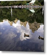 Central Park Pond With Two Ducks Metal Print by Madeline Ellis