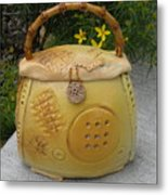 Ceramic Container With Lid Metal Print by Christine Belt